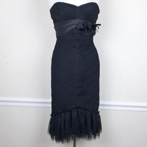 Vera Wang Cocktail Dress Strapless Tulle Body
